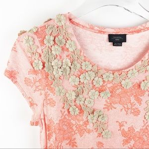 Anthro Deletta Lace Applique Tee Shirt Pink M